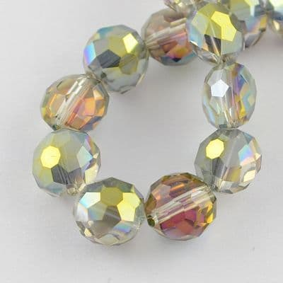 Flat Round Faceted Electroplate Glass Dark Khaki Beads (20)
